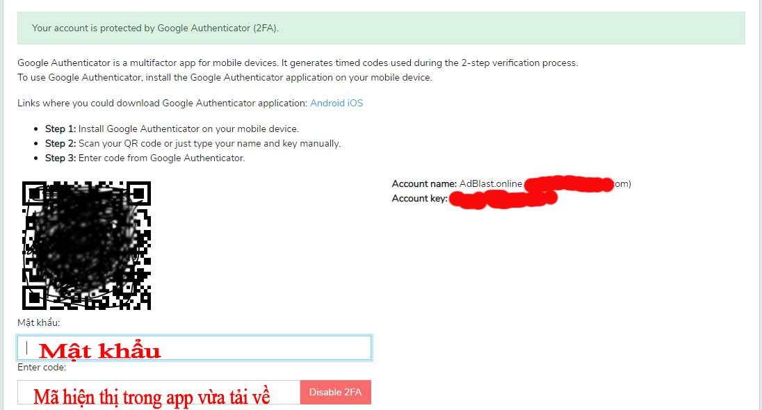 Cách đăng kí mã bảo vệ từ google